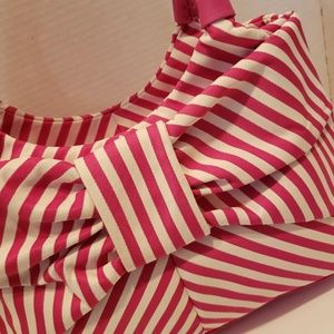 kate spade Bags - Kate Spade hot pink and white stripe bow purse